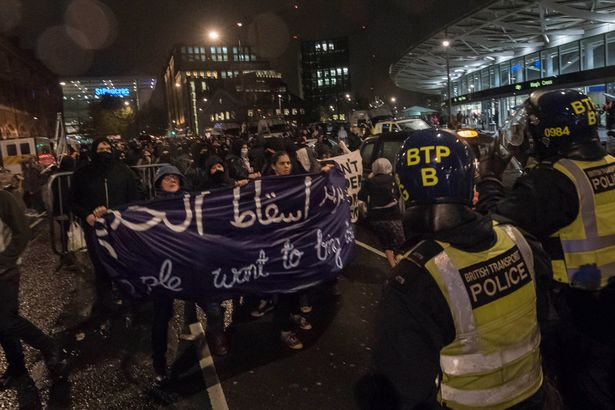 Up-to-150-protesters-took-part-in-a-demonstration-at-St-Pancras-railway-station-in-response-to-the-plight-of